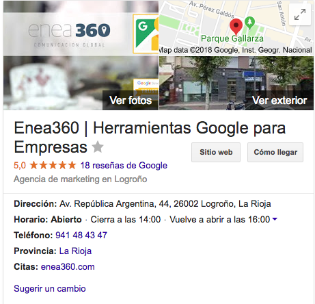 Captura de pantalla de la Ficha de Google My Business de Enea360