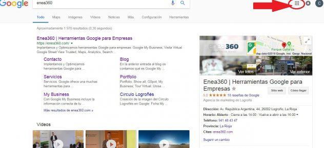 Captura de pantalla que identifica donde se encuentra el icono que accede a Google My Business
