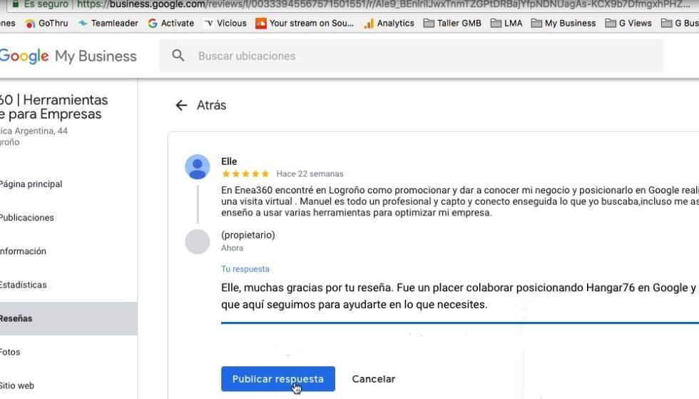 Fotografía que muestra la pestaña Reseñas de la ficha Google My Business de Enea 360